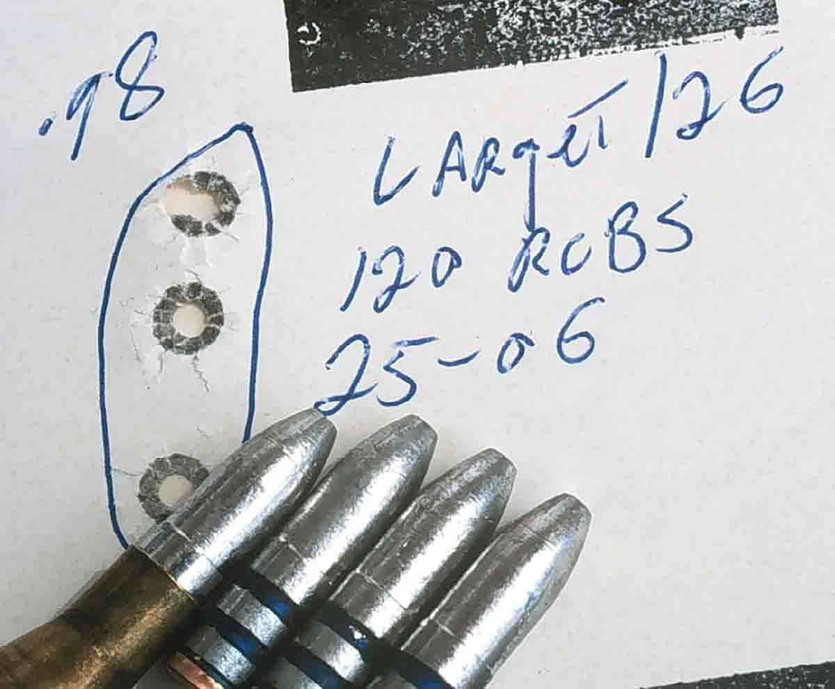 The worn bore of the .25-06 Remington still managed to put the RCBS bullets into an acceptable group with Varget.