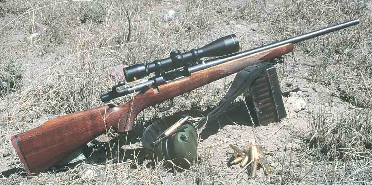 The Model 600 Remington with a Nikon 4x scope is more of a deer rifle, but with cast bullets it's cheap to shoot at gophers.