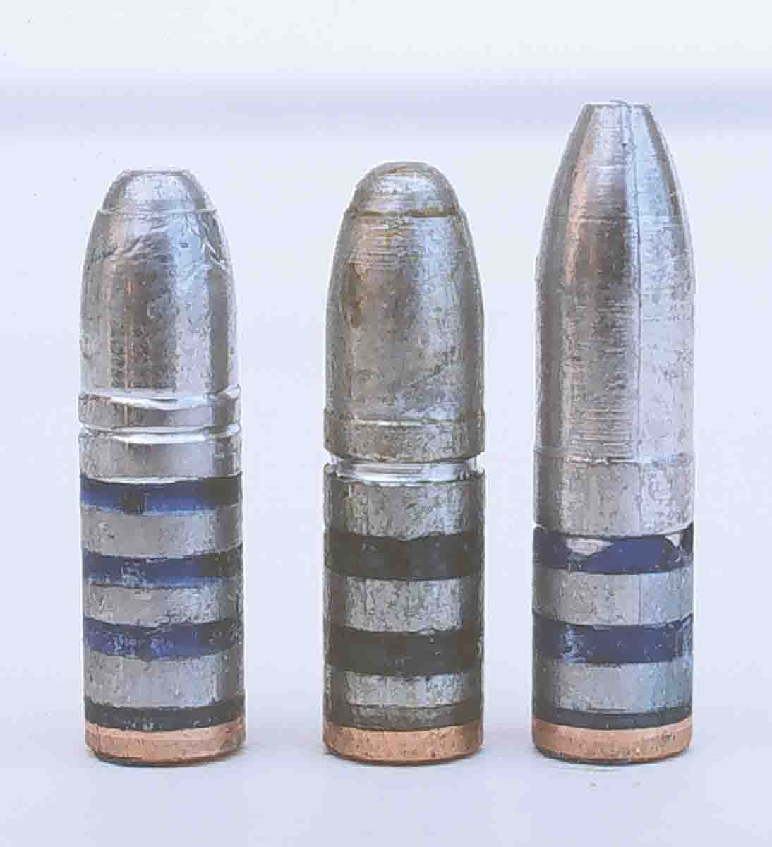 these .25-caliber bullets were fired in the .25-06 Remington to develop a gopher load. From the left, NEI 115.257 GC No. 16, Ideal 257325 and RCBS-120-SP.