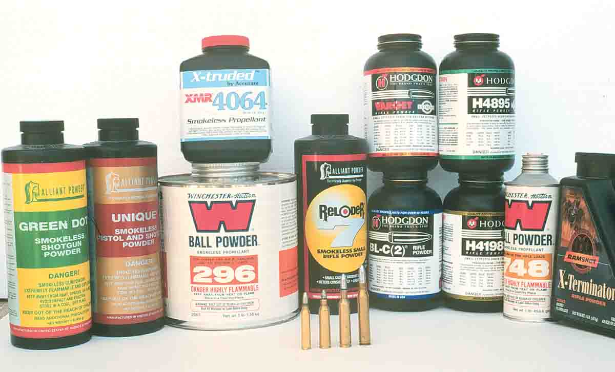A large assortment of powders were tried in the .223, .22-250, 6mm and .25-06 Remingtons with cast bullets.